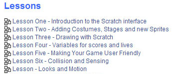 Overview of the lessons created in Moodle for Scratch